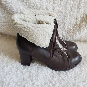 Hush Puppies Samina Leather Shearling Ankle Boots